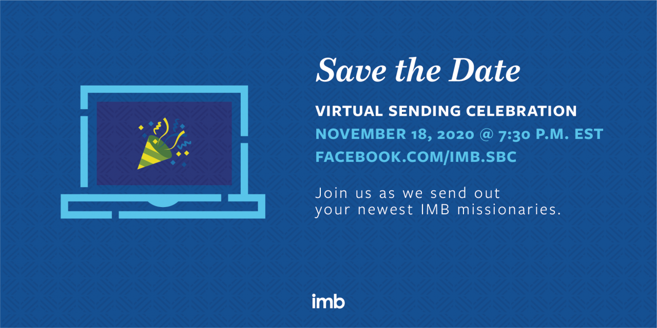 IMB to host virtual Sending Celebration, November 18